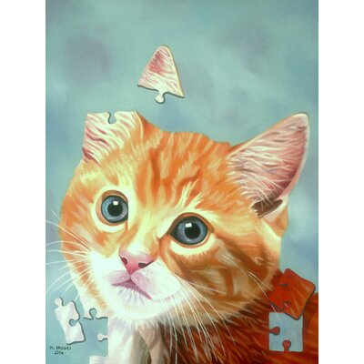 'Cat Puzzle' Acrylic Painting Print on Canvas Size: 24