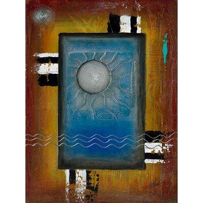 'Art Deco Sun' Acrylic Painting Print on Canvas Size: 24