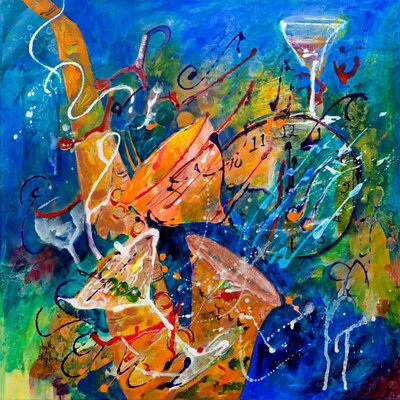 'Party Time' Acrylic Painting Print on Canvas Size: 18