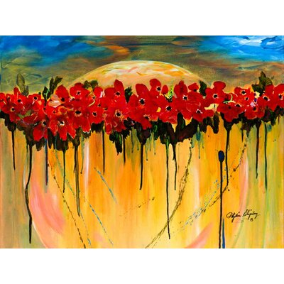 'Space Poppies' Acrylic Painting Print on Canvas Size: 18