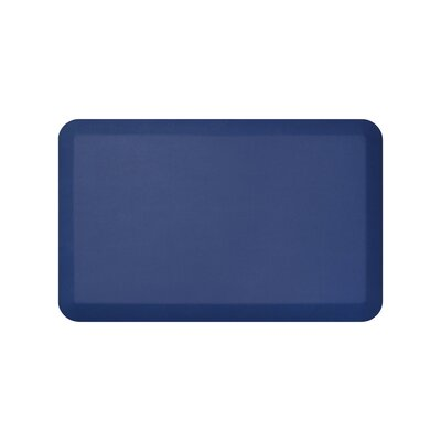 Leather Grain Designer Comfort Kitchen Mat Mat Size: 18 x 28, Color: Navy
