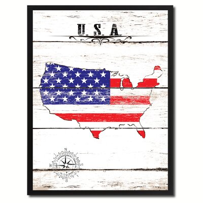 'Usa Vintage Flag Canvas Print Picture Frame Home Decor Wall Art' Framed Textual Art on Canvas Size: 17