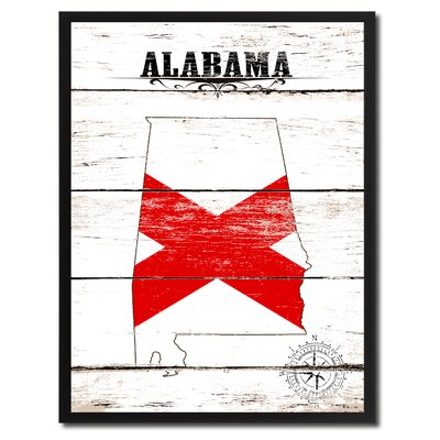 'Alabama State Vintage Flag Canvas Print Picture Frame Home Decor Wall Art' Framed Textual Art on Canvas Size: 17