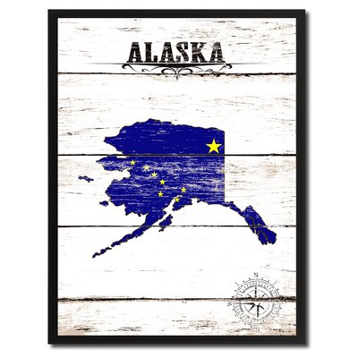 'Alaska State Vintage Flag Canvas Print Picture Frame Home Decor Wall Art' Framed Textual Art on Canvas Size: 17