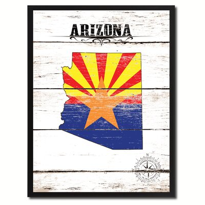 'Arizona State Vintage Flag Canvas Print Picture Frame Home Decor Wall Art' Framed Textual Art on Canvas Size: 17