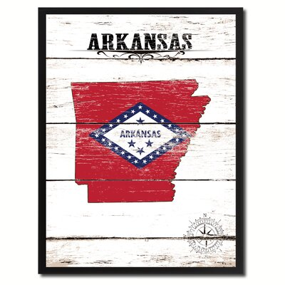 'Arkansas State Vintage Flag Canvas Print Picture Frame Home Decor Wall Art' Framed Textual Art on Canvas Size: 17