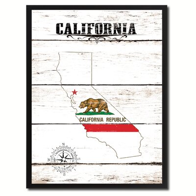 'California State Vintage Flag Canvas Print Picture Frame Home Decor Wall Art' Framed Textual Art on Canvas Size: 17