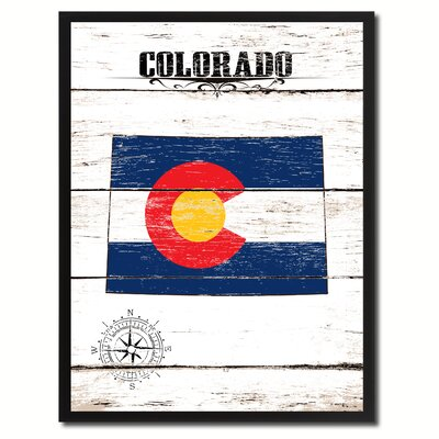 'Colorado State Vintage Flag Canvas Print Picture Frame Home Decor Wall Art' Framed Textual Art on Canvas Size: 17