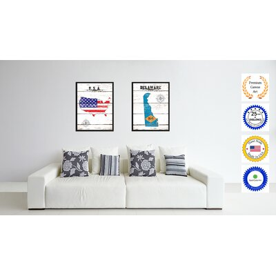 'Connecticut State Vintage Flag Canvas Print Picture Frame Home Decor Wall Art' Framed Textual Art on Canvas Size: 17
