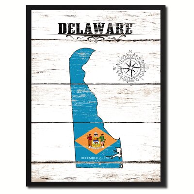 'Delaware State Vintage Flag Canvas Print Picture Frame Home Decor Wall Art' Framed Textual Art on Canvas Size: 17