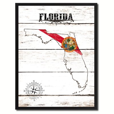 'Florida State Vintage Flag Canvas Print Picture Frame Home Decor Wall Art' Framed Textual Art on Canvas Size: 17