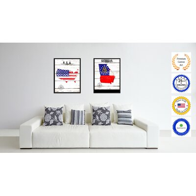 'Georgia State Vintage Flag Canvas Print Picture Frame Home Decor Wall Art' Framed Textual Art on Canvas Size: 17