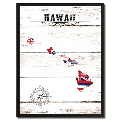 'Hawaii State Vintage Flag Canvas Print Picture Frame Home Decor Wall Art' Framed Textual Art on Canvas Size: 17