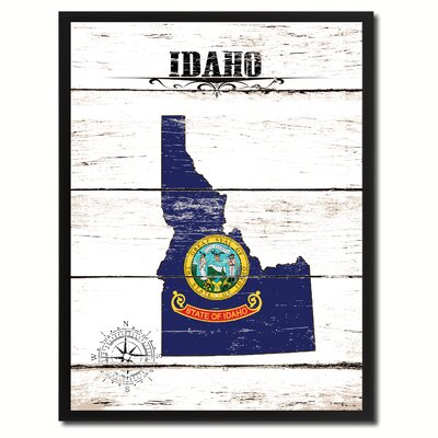 'Idaho State Vintage Flag Canvas Print Picture Frame Home Decor Wall Art' Framed Textual Art on Canvas Size: 17