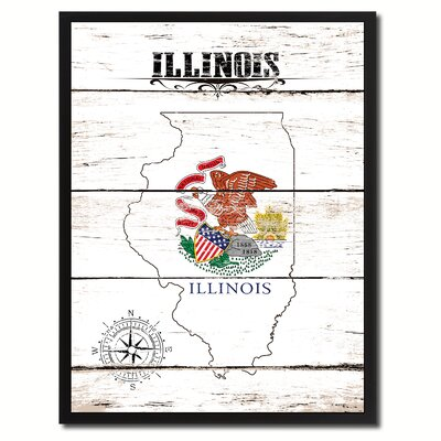 'Illinois State Vintage Flag Canvas Print Picture Frame Home Decor Wall Art' Framed Textual Art on Canvas Size: 17