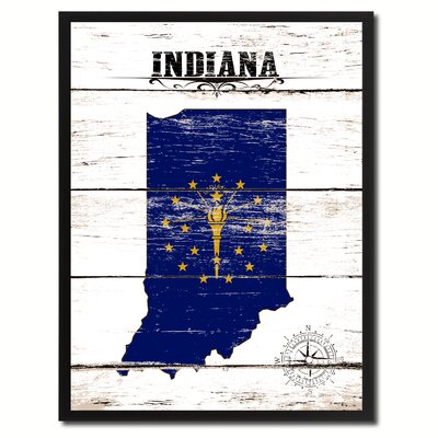 'Indiana State Vintage Flag Canvas Print Picture Frame Home Decor Wall Art' Framed Textual Art on Canvas Size: 17