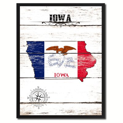 'Iowa State Vintage Flag Canvas Print Picture Frame Home Decor Wall Art' Framed Textual Art on Canvas Size: 17