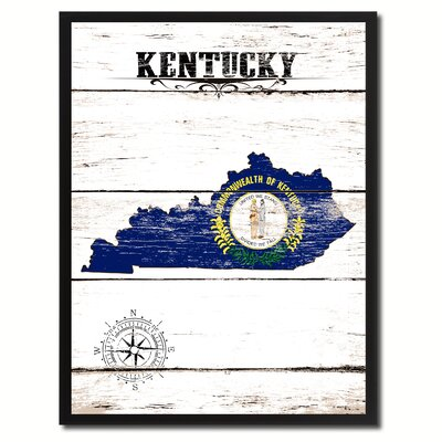 'Kentucky State Vintage Flag Canvas Print Picture Frame Home Decor Wall Art' Framed Textual Art on Canvas Size: 17