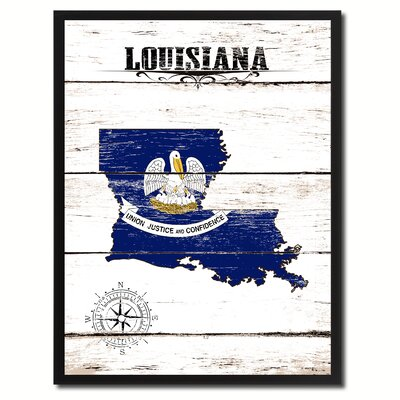 'Louisiana State Vintage Flag Canvas Print Picture Frame Home Decor Wall Art' Framed Textual Art on Canvas Size: 17