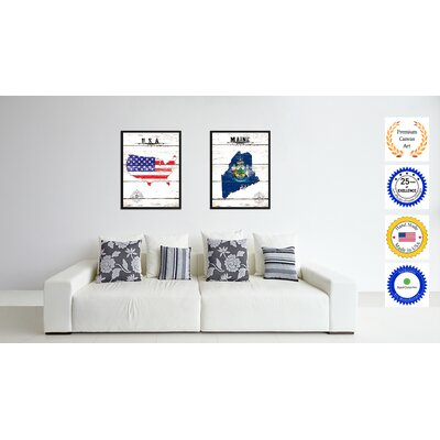 'Maine State Vintage Flag Canvas Print Picture Frame Home Decor Wall Art' Framed Textual Art on Canvas Size: 17