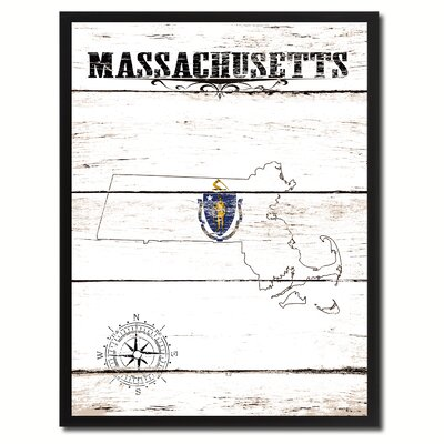 'Massachusetts State Vintage Flag Canvas Print Picture Frame Home Decor Wall Art' Framed Textual Art on Canvas Size: 17
