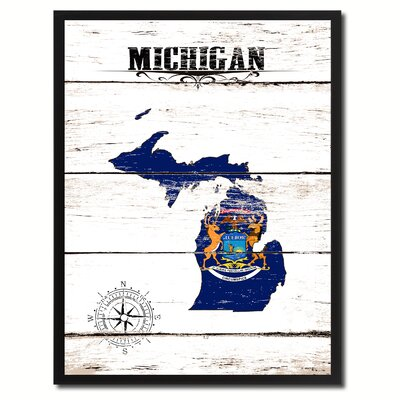 'Michigan State Vintage Flag Canvas Print Picture Frame Home Decor Wall Art' Framed Textual Art on Canvas Size: 17