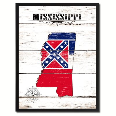 'Mississippi State Vintage Flag Canvas Print Picture Frame Home Decor Wall Art' Framed Textual Art on Canvas Size: 17