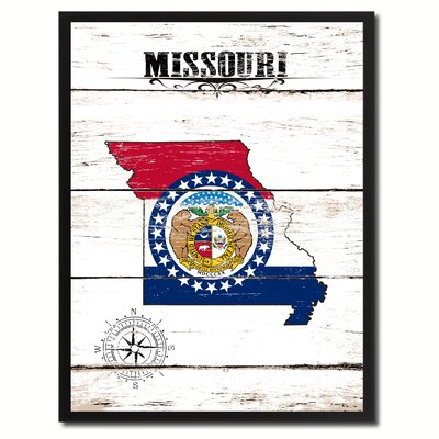 'Missouri State Vintage Flag Canvas Print Picture Frame Home Decor Wall Art' Framed Textual Art on Canvas Size: 17