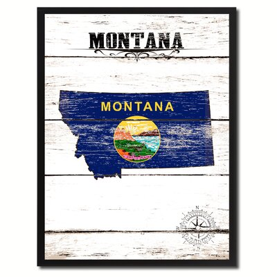 'Montana State Vintage Flag Canvas Print Picture Frame Home Decor Wall Art' Framed Textual Art on Canvas Size: 17
