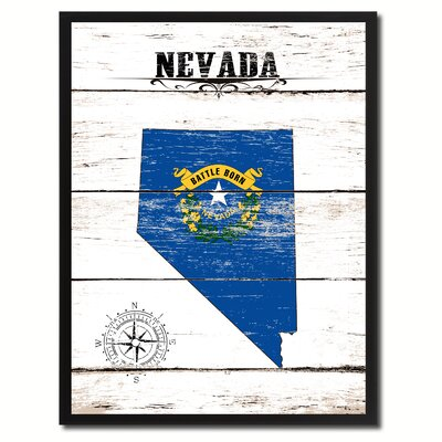 'Nevada State Vintage Flag Canvas Print Picture Frame Home Decor Wall Art' Framed Textual Art on Canvas Size: 17