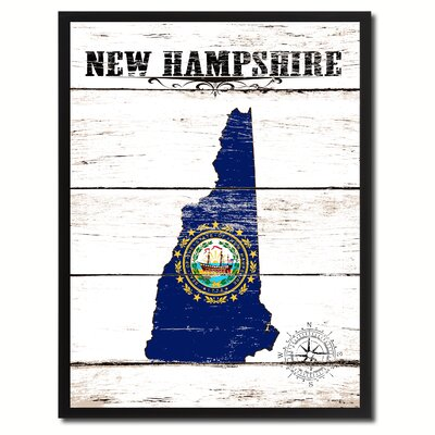 'New Hampshire State Vintage Flag Canvas Print Picture Frame Home Decor Wall Art' Framed Textual Art on Canvas Size: 17