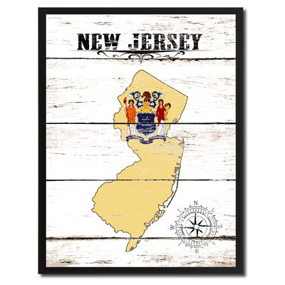 'New Jersey State Vintage Flag Canvas Print Picture Frame Home Decor Wall Art' Framed Textual Art on Canvas Size: 17