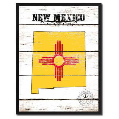 'New Mexico State Vintage Flag Canvas Print Picture Frame Home Decor Wall Art' Framed Textual Art on Canvas Size: 17