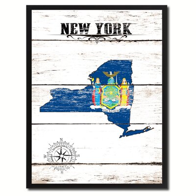 'New York State Vintage Flag Canvas Print Picture Frame Home Decor Wall Art' Framed Textual Art on Canvas Size: 17