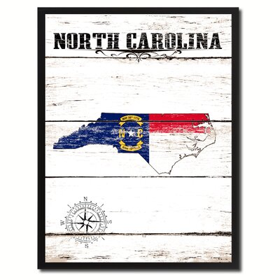 'North Carolina State Vintage Flag Canvas Print Picture Frame Home Decor Wall Art' Framed Textual Art on Canvas Size: 17