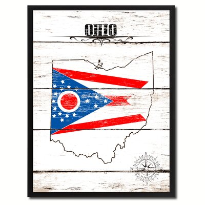 'Ohio State Vintage Flag Canvas Print Picture Frame Home Decor Wall Art' Framed Textual Art on Canvas Size: 17