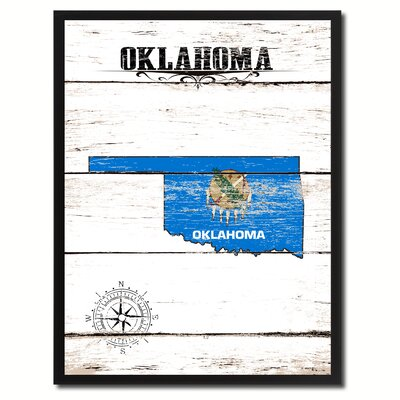 'Oklahoma State Vintage Flag Canvas Print Picture Frame Home Decor Wall Art' Framed Textual Art on Canvas Size: 17
