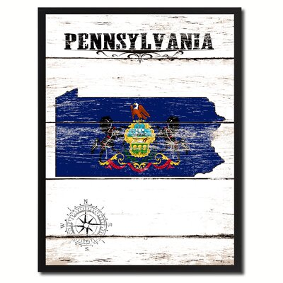 'Pennsylvania State Vintage Flag Canvas Print Picture Frame Home Decor Wall Art' Framed Textual Art on Canvas Size: 17