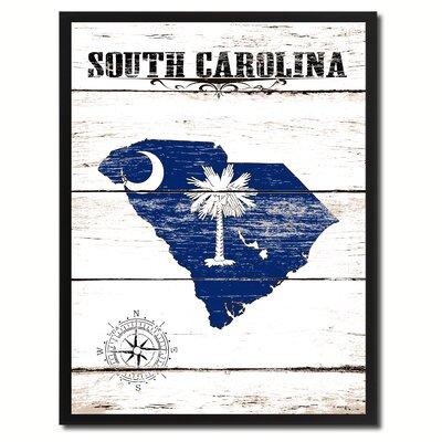 'South Carolina State Vintage Flag Canvas Print Picture Frame Home Decor Wall Art' Framed Textual Art on Canvas Size: 17