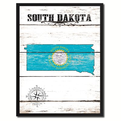 'South Dakota State Vintage Flag Canvas Print Picture Frame Home Decor Wall Art' Framed Textual Art on Canvas Size: 17
