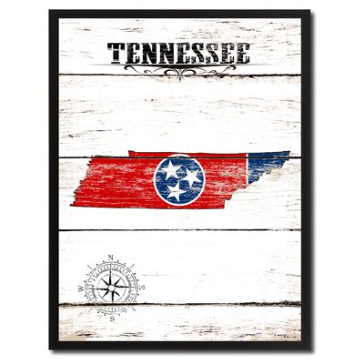 'Tennessee State Vintage Flag Canvas Print Picture Frame Home Decor Wall Art' Framed Textual Art on Canvas Size:  37
