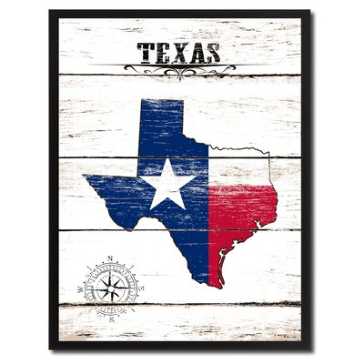 'Texas State Vintage Flag Canvas Print Picture Frame Home Decor Wall Art' Framed Textual Art on Canvas Size: 17