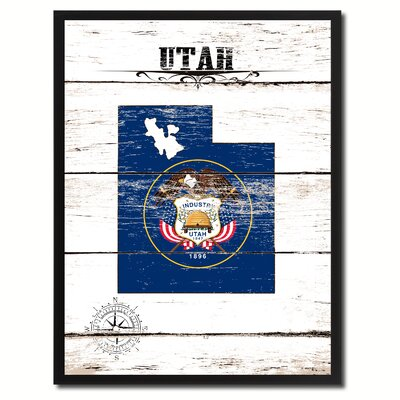 'Utah State Vintage Flag Canvas Print Picture Frame Home Decor Wall Art' Framed Textual Art on Canvas Size: 17