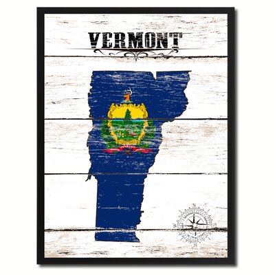 'Vermont State Vintage Flag Canvas Print Picture Frame Home Decor Wall Art' Framed Textual Art on Canvas Size: 17