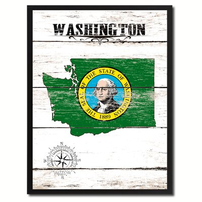 'Washington State Vintage Flag Canvas Print Picture Frame Home Decor Wall Art' Framed Textual Art on Canvas Size: 17