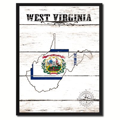 'West Virginia State Vintage Flag Canvas Print Picture Frame Home Decor Wall Art' Framed Textual Art on Canvas Size: 17