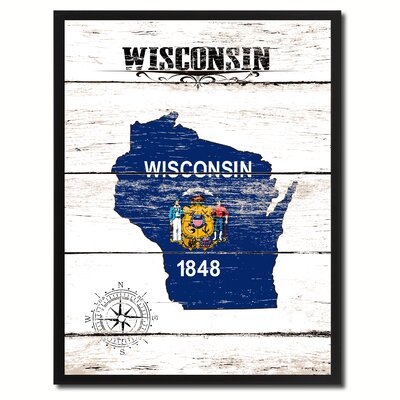 'Wisconsin State Vintage Flag Canvas Print Picture Frame Home Decor Wall Art' Framed Textual Art on Canvas Size: 17