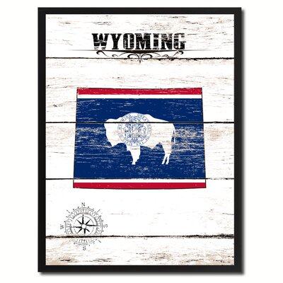 'Wyoming State Vintage Flag Canvas Print Picture Frame Home Decor Wall Art' Framed Textual Art on Canvas Size: 17