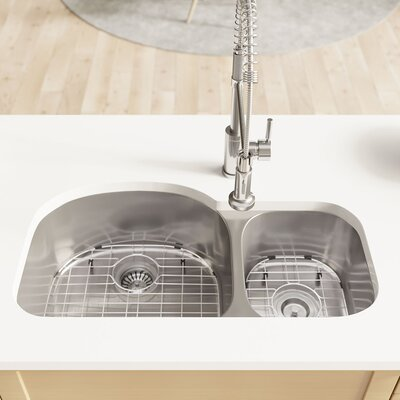 Stainless Steel 32 x 18 Double Basin Undermount Kitchen Sink with Cutting Board, Grid , Basket and Standard Strainer