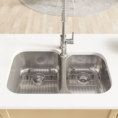 Stainless Steel 32 x 21 Double Basin Undermount Kitchen Sink with Cutting Board, Grid , Basket and Standard Strainers